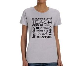 Subway Art Teacher T-shirt With Inspiring Words