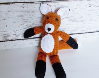 "Hand Knit Fox, Woodland Stuffed Animal, Soft Toy, Plush Fox Doll, Toddler Gift, Baby Boy or Girl Gender Neutral Gift, Handmade Toy 13 1/2"""