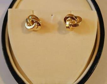 14k Yellow Gold Trinity Love Knot Post Stud Earrings