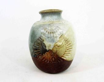 Vintage Mid Century Stoneware Studio Pottery Vase with Face. Circa 1960's.