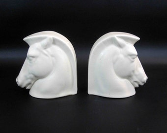 Vintage Mid Century Ceramic Horse Head Bookends in White. Made in Czechoslovakia.  Circa 1950's - 1960's.