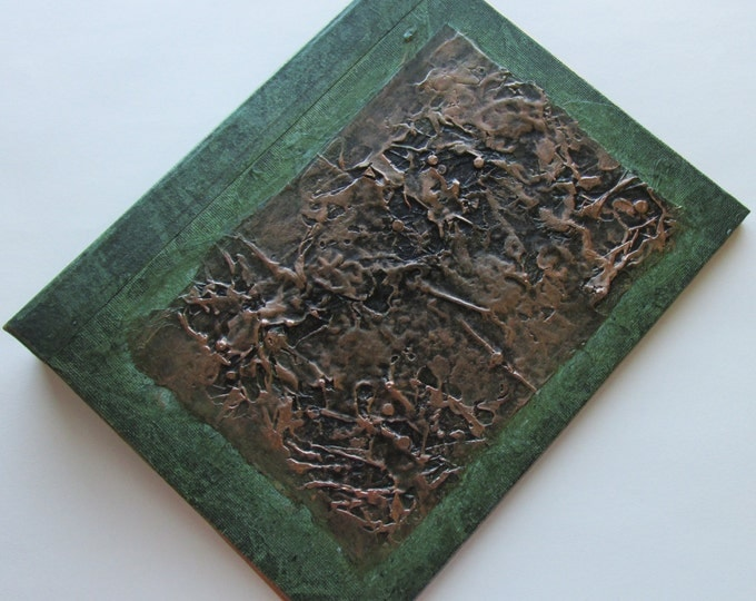 Refillable Journal green copper black texture patch 9x7 Original Handmade art journal