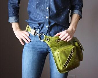 Green Leather Hip Bag, 4 Pocket Belt Bag, Bum Bag, Waist Bag, Leather Pouch, Hippie Bag, Festival Bag, Utility Belt, Shoulder Bag, Hip Purse