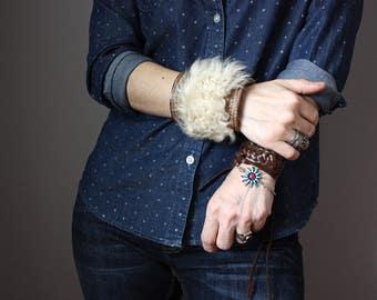 Unique leather and lamb skin bracelet, wide leather cuff, fur bracelet, boho chic bracelet,  bohemian style jewelry, Pixie bracelet