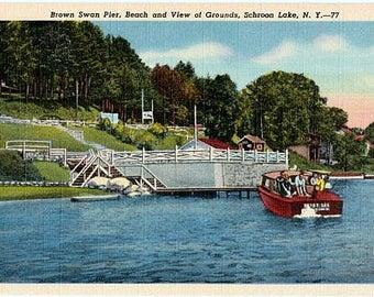 Vintage New York Postcard - Boating on Schroon Lake in the Adirondacks (Unused)