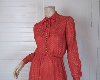 80s Red Secretary Dress in Sheer- Bow, Puffy Sleeves- 1980s Small Petite