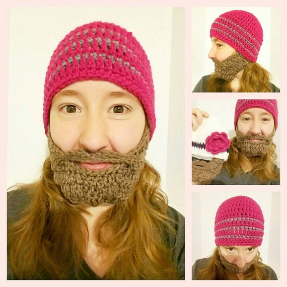 Women's Pink Beard Beanie, Pussy Hat Project, Women's Movement, Women's Pink Ski Mask, Feminist Beard Beanie, Feminist Ski Mask, Resist Hat