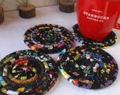 Black Bohemian Coiled Fabric Coasters - Set of 4 - Handmade by Me, Absorbent Coasters