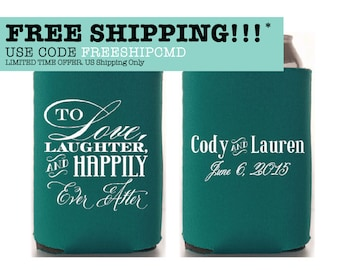 Custom Wedding Collapsible Can Coolers - To Love, Laughter and Happily Ever After