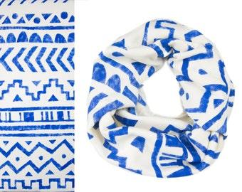 Tribal Stamp Infinity Scarf - Hand Printed Sweatshirt Fleece Circle Scarf in Heather Porcelain & Cobalt Blue Q