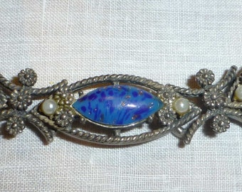 Vintage Silver Bracelet with Blue Stones