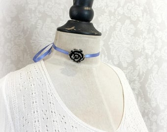Flower Choker - Vintage Choker - Art Deco Choker - Gatsby Necklace - Ribbon Choker - Rose Choker - Rose Necklace - Silver Rose Choker