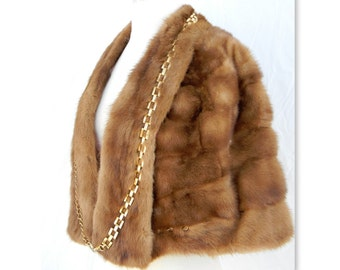 Embellished Vintage Mink Stole-funkified with chains and spikes- 1950's meets 2017 Steampunk OOAK