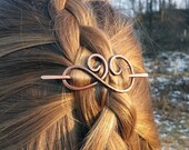 Celtic spiral hair clip Hair barrette Small metal hair holder Copper slide for hair Shawl pin Womans Gift for her Spiral hair barrette