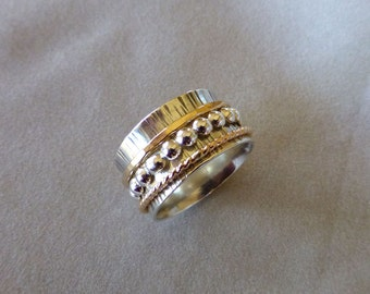 Sterling Spinner Ring, Wide Band Ring, Meditation Ring, Hand Forged Argentium Sterling and Gold Spinner Ring, Size 10