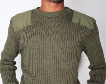SALE Vintage Marine Corps MILITARY ISSUE Dark Green Cable Knit Sweater // Mens Vintage Army Sweater (sz L Xl)