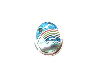 Vintage Whimsical Silver Tone Metal Oval Shaped Turquoise Inlay & Abalone Rainbow Mountain Unmarked Pendant