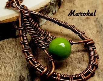 Green Apple Wire Weave Necklace Copper Wire Oxidized Abstract Bright Green
