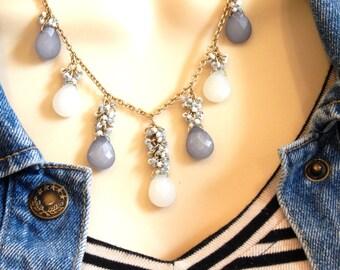 Gold Charm Necklace,  Mauve Briolette Cluster Charm Necklace