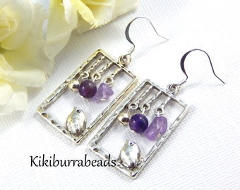 Bird Earrings, Silver Bird Earrings, Amethyst Earrings