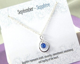 Mothers Day Sale September Birthstone Necklace, Personalized infinity necklace, sapphire, birthstone jewelry, gift boxed necklace