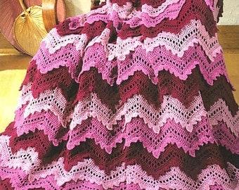INSTANT DOWNLOAD PDF Vintage Crochet Pattern Booklet Rose Ripple Afghan and More  Christmas Afghan Throw Blanket Bedspread 12 Page Booklet