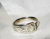 Antique Rose Spoon Ring Sterling Silver Size 6 Adjustable