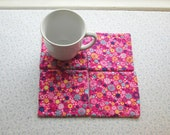 MARKED DOWN was 9 now 6 pink flowers hand quilted set of mug rugs coasters
