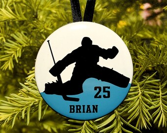 Ice Hockey Goalie Silhouette Christmas Ornament - team colors - customized - C129 athlete gift