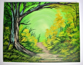 Bob Ross STYLE Oil Painting Green Forest Wilderness Path Moody Oak Tree 16 x 20