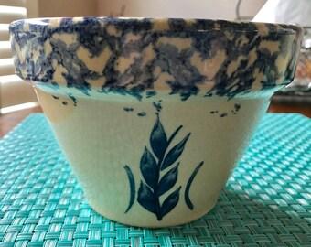 "Robinson Ransbottom Pottery RRP Roseville Ohio Blue Wheat Sponge Ware 6"" Bowl"