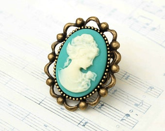 Big Cameo Ring Aqua Blue Cameo Gift for Her Mint Green Girlfriend Ring Gift for Mom Vintage Wedding Bridesmaid Gift Silhouette Cameo Jewelry