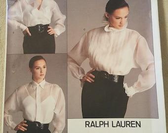 Vogue 2001 Shirt 3 Designs  American Designer Ralph Lauren 1987   Size 8 New - Uncut