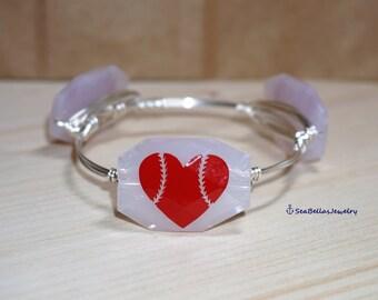 1 stackable Red White Baseball Lover Bangle Bracelet inspired, Bridal gift,chunky Beads, pearls, Baseball Mom, Fans inspired, Gift, Birthday