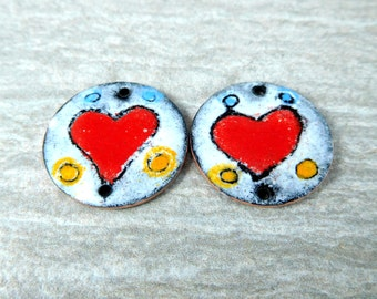 Red Heart Enamel Earring Bead Pair, Primitive Valentine's Day Charms Red White Black Jewelry Components 25mm Enameled Copper Pendants Rustic