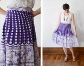 1970s Purple and White Polka Dot and Giraffes Wrap Skirt - S/M