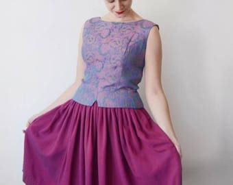 SPRING CLEANING SALE 1960s Purple Floral Top - M