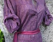 size LARGE JUMPSUIT, METALLIC Stripes Lurex Indian baggy cotton jump suit, purple cotton indian jumpsuit, gold print purple pants suit