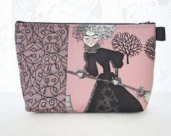X Large Ghastlies Fabric Cosmetic Bag Zipper Pouch Padded Makeup Bag Zip Pouch Minerva Grislie Ghastlie Witch with Broom Mauve Black TGM