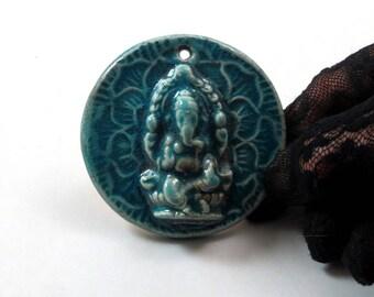 Ganesha Ganesh Pendant Raku Pottery