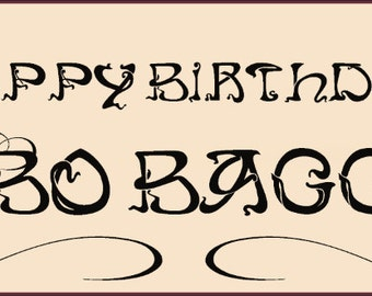 Personalised banner graphic birthday party Bilbo Baggins lord of the rings