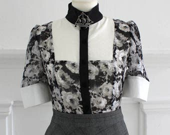Handmade Victorian style blouse black floral chiffon with white bib