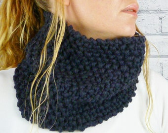 Hand knitted Cowl - Charcoal, womens scarf, snood, neckwarmer, merino wool scarf