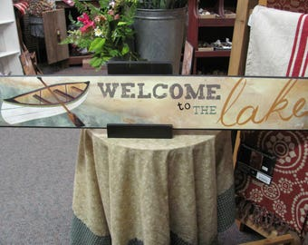 Lake Wall Decor,Welcome To the Lake,Welcome Wood Sign,6x36,Marla Rae,FLASH SALE!!