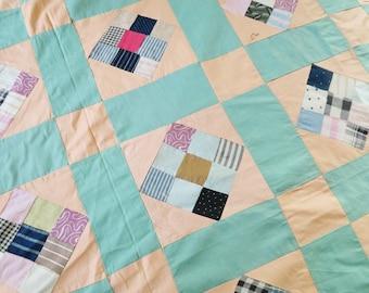 antique quilt top, time span patchwork, hand pieced, home made quilt top, unfinished quilt, antique patchwork, vintage decor,