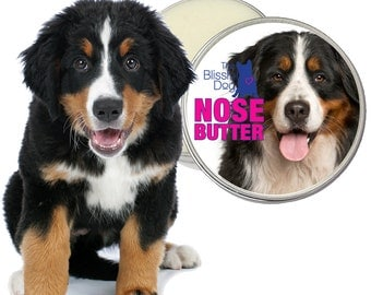 Bernese Mountain Dog ORIGINAL NOSE BUTTER® All Natural Balm for Dry, Crusty or Cracked Dog Noses 8 oz Tin with Berner Label in Gift Bag