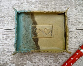 SALE:- Ceramic Soap dish, ring dish, lovehearts, gift for her/him. Turquoise, black, cream