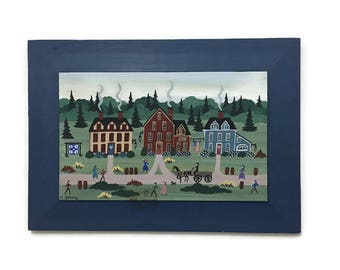 Vintage Folk Art Amish Painting on Board - Signed by Artist