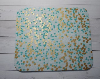 Mouse Pad mousepad / Mat - round - metallic gold white, mint flecks Confetti  - cubicle decor office desk coworker gift