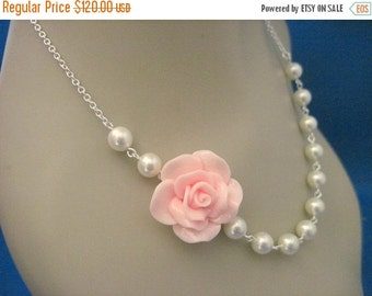 Bridesmaid Jewelry Set of 6 Soft Pink Fashion Rose Bridal Necklaces